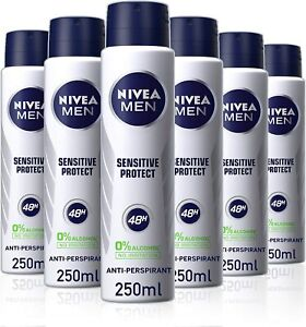 6 x Nivea Men Anti-Perspirant Deodorant Spray, Alcohol Free, 48 Hours Deo, 250ml