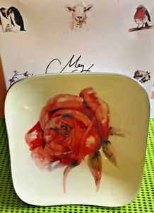 Tilnar Art-by Meg Hawkins-Red Rose Square Bowl-Handmade-Ornamental Home Décor
