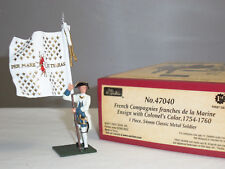 BRITAINS 47040 BLUECOATS FRENCH MARINES ENSIGN WITH COLONELS COLORS 1754 - 1760