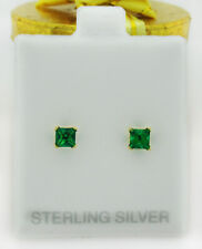 COLOMBIAN EMERALD 0.94 Cts STUD EARRINGS .925 Sterling Silver ** New With Tag **