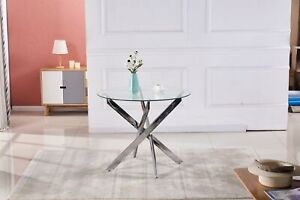 Round Tempered Glass Dining Coffee Table With Modern Cross Chrome Legs Furniture