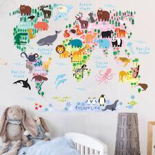 Cartoon Animal World Map Wall Sticker Children's Bedroom Living Room Wall Decal