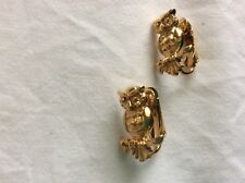 Owls sitting on a branch Owl clipon Earrings Gold tone 4 grams