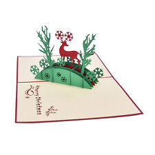 3D Pop Up Holiday Greeting Cards Deer Jesus Reindeer Christmas Thanksgiving EF