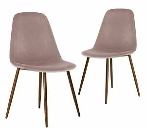 Velvet Fabric Dining Chairs with Dark  Metal Leg Living  Dinning Room 3 colors