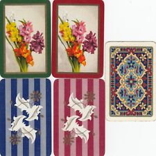 MINIATURES - 5  FLOWERS --  single vintage playing cards !