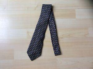 Vintage Hermes Paris Blue & Gold Knot Pattern Neck Tie