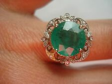 Fancy Certified Gift~14k gold diamond 10mm round Colombian Emerald ring~Free SHP