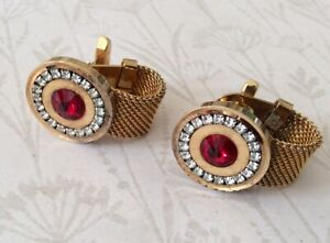 Vintage 1970s Gold Metal And Red Crystal Cufflinks