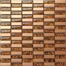Métallique Aléatoire Mélange en Acier Brossé Cuivre Effet Mosaïque Verre Mur Carrelage (MT0104)