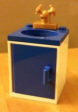 LEGO CUSTOM Furniture BATHROOM SINK Blue Basin & Door Gold Faucet City Belville