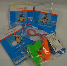 swim arm  water gun  swim goggle  beach ball - junk drawer lot of pool items