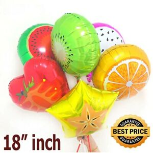 "1 Pc - Fruit Shape 18"" Foil Helium Balloons Birthday Party Air Solid Round Col"