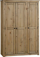BUDGET MEXICAN STYLE 3 DOOR DISTRESSED PINE WARDROBE WITH HANGING AND 3 SHELVES