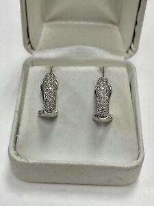 1/2 ctw Diamond 14k White Gold Mini Huggie Hoop Earrings Collapsible Omega Backs