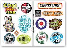 A4 Sheet Retro Aged Distressed Worn Set of 12 Ratlook Vinyl Car sticker Decals