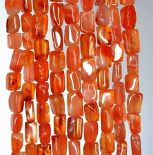 5X4-9X5MM RED CARNELIAN GEMSTONE RED ORANGE RECTANGLE TUBE LOOSE BEADS 14""