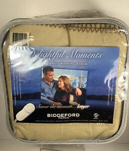 NEW Biddeford Delightful Moments Automatic Warming Throw Blanket  Soft 50x62 Tan