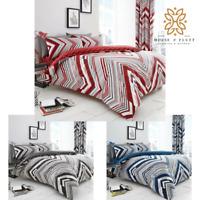 Austin Chevron Stripes Duvet Cover Set Pillowcase Reversible Bedding Double King