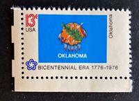 US Stamps, Scott #1678 13c State Flags: Oklahoma XF M/NH. PO fresh.