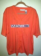 Carolyn Taylor womens Plus size 2X Orange Embroidery Button Down shirt Top Short