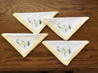 Vintage  Cocktail Napkins Applique With Yellow Flower