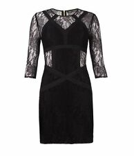 New All Saints Neely black lace dress UK 8