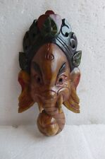 BEAUTIFUL WOODEN HAND CRAFTED MASK OF HINDU DEITY LORD GANESH STATUE HOME DECOR