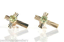 9ct Gold Peridot Cross Studs Earrings Gift Boxed Made in UK