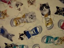 CATS IN TENNIS SHOES KITTIES SHOE CREAM COTTON FABRIC FQ OOP