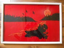 Old Vintage Felt Framed Wall Hanging Silhouette Art Picture Sunset Boat Umbrella