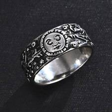 Antique Silver rved Sun Moon Rose Magic Ring Wedding Ring Gift Size 6-10