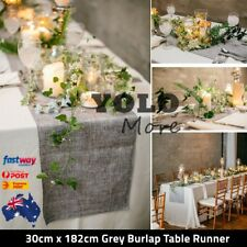 Grey Burlap Table Runner Imitated Linen Wrinkle-Free 30cm x 182cm Scented Decor