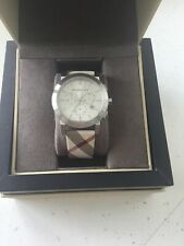 BURBERRY  BU9357 SILVER & CHECK LEATHER MENS CHRONOGRAPH WATCH