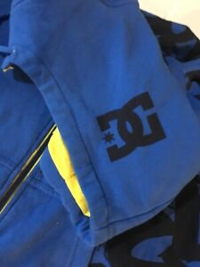"""Vintage """"DC Shoes"""" Hoody Full Zip Up Huge Spellout Blue&Yellow w/Black Graphic"""