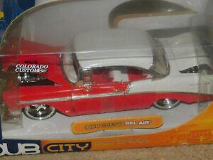 Dub City Old School Jada 1956 Chevy Bel Air Red & White 1:24