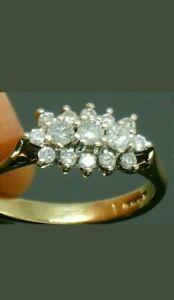3Ct Round Cut Diamond Women's Cluster Engagement Wedding Ring 14k Yellow Gold FN