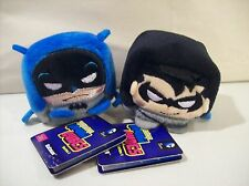 LOT OF 2 NEW DC COMICS BATMAN KAWAII CUBES BEAN PLUSH BATMAN NIGHTWING SERIES 1