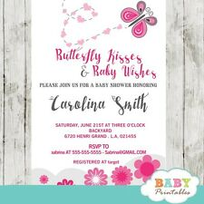 Pink Butterfly Baby Shower Invitation for Girls - Printable Digital File