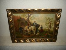Old oil painting,{ 18th century scene, a travelers meetings place, is signed }.