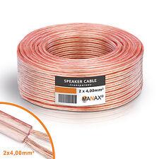 50 m câble haut-parleur 4 mm² transparent d'enceinte %100 Cuivre CCA 80 Veines