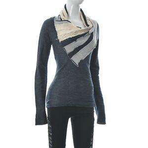 Desigual Women's Shawl Neck Top Lace Trim Panel Contrast Long Sleeve Size S Grey