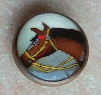 Bouton ancien,Cheval,dessin sur nacre, Button French.