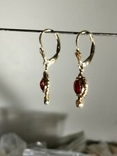 SWEET ALL Natural RED Coral & Diamond 14 KT Gold Leverback Earrings