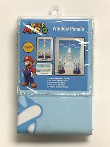 "Super Mario Yoshi Bedroom Window Curtain Panels With Tie-Backs 82"" x 63""*New*"