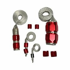 RED STAINLESS STEEL BRAIDED HOSE ENGINE DRESS UP KIT RADIATOR/VACUUM/FUEL/OIL