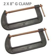"""Pack OF 2 Heavy Duty 200mm 8"""" G Clamp Vice Wood Metal Steel DIY Welding Work New"""