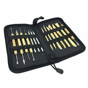 Wood Clay Modeling Pottery Tools Carving Sculpture Jewelry Kit Double Sided