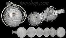 Sterling Silver Aztec Sun Calendar 6-Picture Photo Ball Locket Pendant