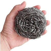 """10 Pcs 3.1""""  Diameter Stainless Steel Wire Sponge Metal Pot Scrubber TS"""